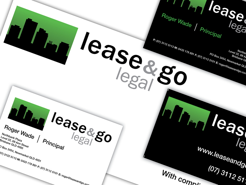Lease & Go Legal, branding and business card designs.