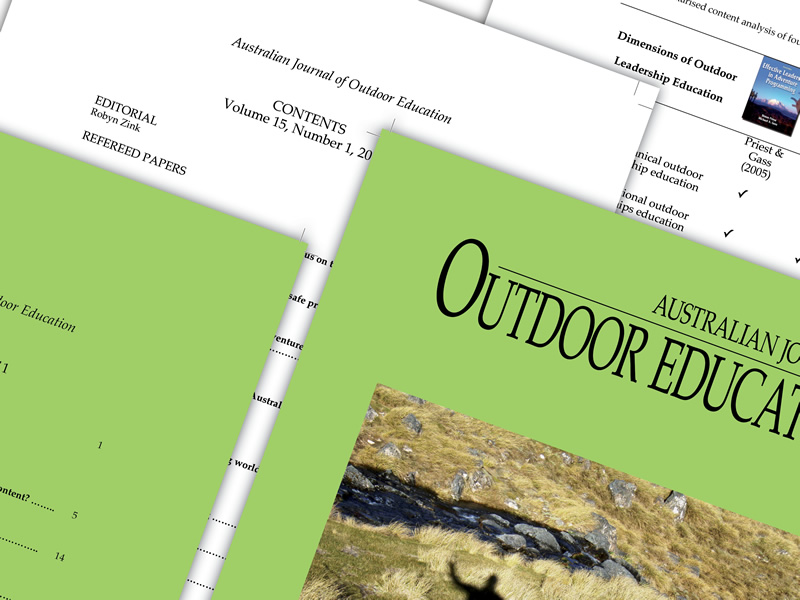 Australian Journal of Outdoor Education Design work.